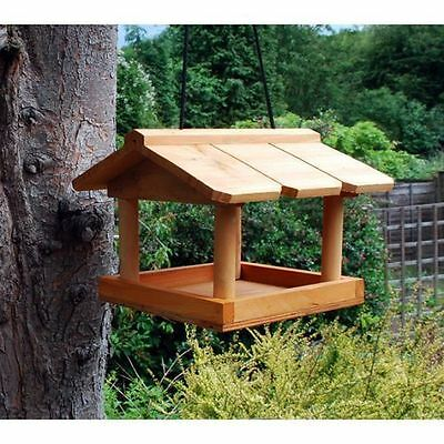 Hanging Wooden Bird Table Garden Wild Birds Tree Bracket Feeding Station Nest BT