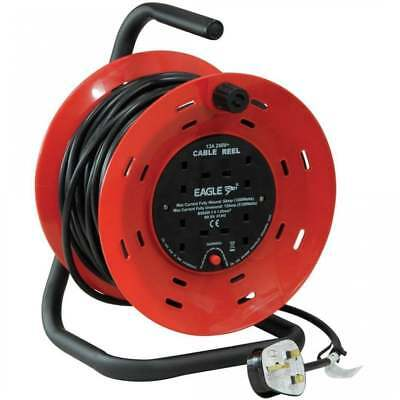 Eagle 15m 4 UK Mains Socket 13A Open Cable Reel Overload Cut Out & Reset Button