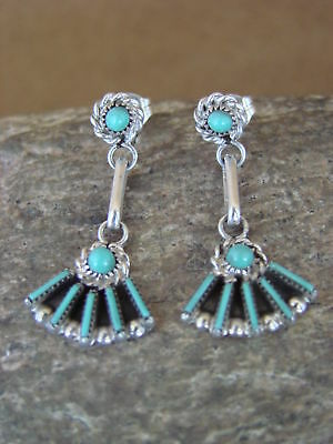 Native American Zuni Sterling Silver Turquoise Petite Point Earrings! Handmade!