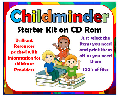 Childminder Starter Kit 100s files to print posters books info eyfs trackcers
