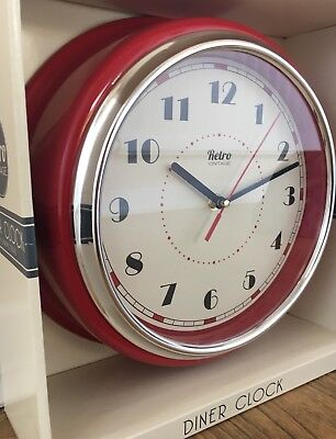 Large Retro Chunky Round Diner Wall Clock Kitchen Red Chrome/Silver