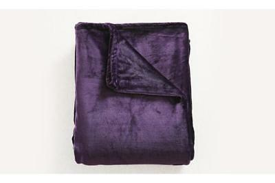 Heavy Mink Coral Fleece Blanket Aubergine XL