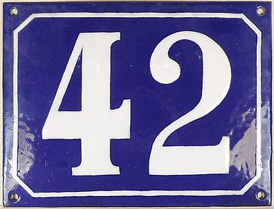 Large old blue French house number 42 door gate plate plaque enamel steel sign