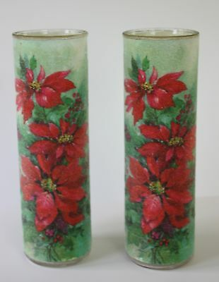 Set of 2 Vintage Sugar Frosted Christmas Poinsettia Glass Pillar Candles