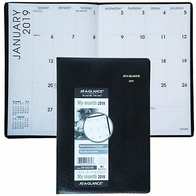 """AT-A-GLANCE Monthly Planner, Jan 2019 - Jan 2020, 7"""" x 10"""" Black 7043205"""