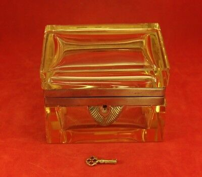 Antique Yellow Crystal or Glass Jewelry Casket - Lock and Key - Baccarat French