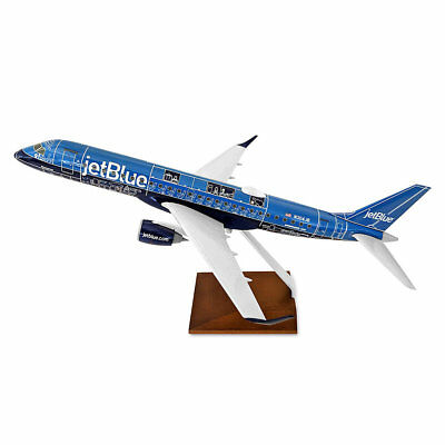 Skymarks Jetblue Embraer ERJ-190 Blueprint Desk 1/100 Model Airplane Wood Stand