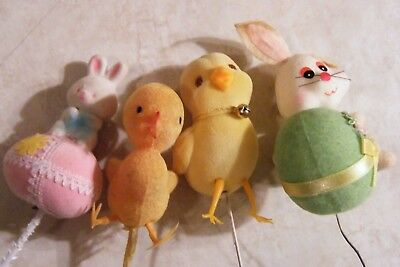 4 VINTAGE Easter Figurine Picks 2 YELLOW CHICKS+ 2 WHITE BUNNY with EASTER EGG