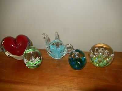 Set of 5 glass ornamental unique paperweights