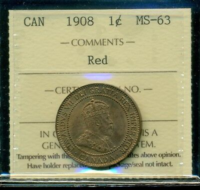 1908 Canada King Edward VII Large Cent ICCS Certified MS-63 Red