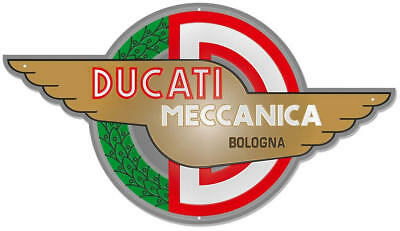 Ducati Meccanica Bolonga Vintage Logo Wings Stamped Metal Sign Red Green