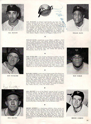 Willie Mays Authentic Autographed Magazine Page Photo Giants 50's Sig JSA G55478