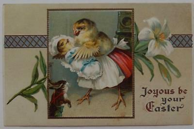 Antique Postcard Embossed Joyous Be Your Easter Dressed Chicks Lily Rabbit