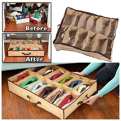 Shoe Organizer 12 Pairs Shoe Storage Holder Container For Under Bed or Closet US