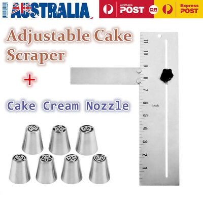 Adjustable Cake Edge Smoother Baking Cake Comb&Cake Icing Piping Cream Nozzle LO