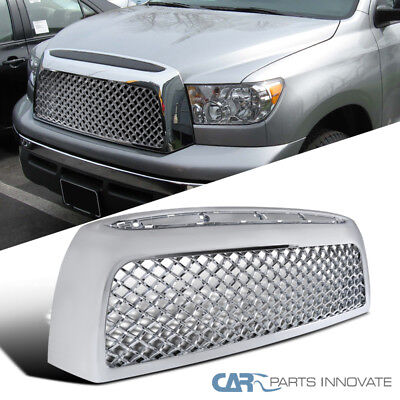 Fit Toyota 07-09 Tundra Pickup Chrome ABS Mesh Front Bumper Hood Grille Grill