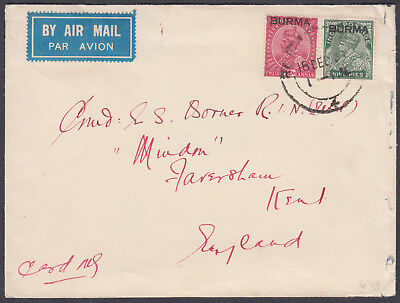 193? BURMA O/P on India Airmail to England; Faversham, Kent