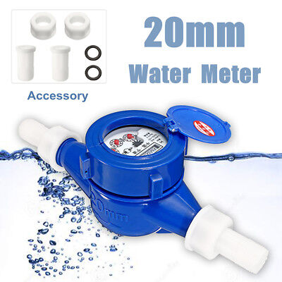 3/4'' 20mm Dry Cold Water Meter Flow Measure Tape Table Counter Home Garden Tool