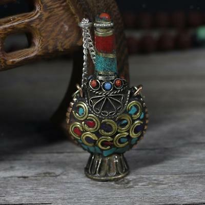 Vintage Tibetan Small Snuff Bottles Nepal Handcraft Pendant Craft A