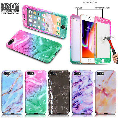 Tempered Glass For iPhone 8 7 6 Marble Shockproof Silicone Protective Case Cover