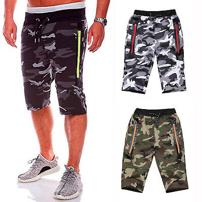 Mens Camo Army MilitaryJoggers Fitness Shorts 3/4 Elasticated Waist Short Pants
