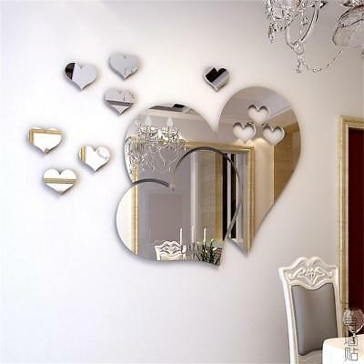 3D Heart Mirror Wall Stickers Decal DIY Art Removable Room Decoration Wedding.UK