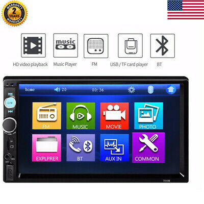 "2 DIN 7"" Bluetooth Auto Car Stereo Radio MP5 FM Player AUX USB SD Touch Screen"