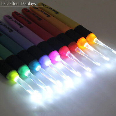 9 Sizes Crochet Knitting Needles Sewing Tool Weave Hooks With Led Light Up