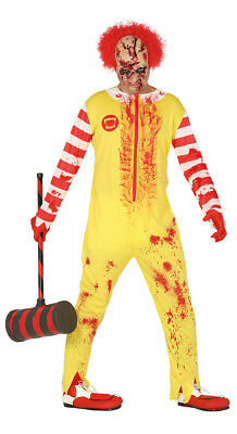 Adult ZOMBIE Ronald The Clown Red & Yellow Fancy Dress Burger Mcdonald Costume