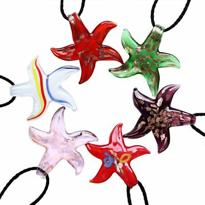 Lampwork Glass Starfish Pendant Necklace Boho Leather Rope Jewelry Gift New Hot