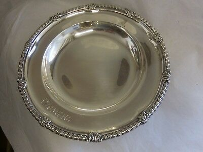 Tiffany & Co 1891-1902 Sterling Silver Bowl With Gadroon Rim Wolf Crest