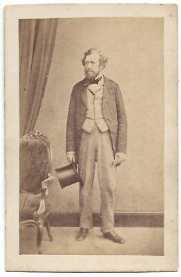 CDV Victorian Gentleman With Top Hat Carte De Visite Photograph