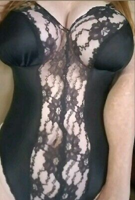Women's Vintage L Frederick's of Hollywood SEXY Intimates Sleepwear black lace
