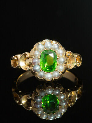 Victorian Rare Natural Demantoid Garnet & Pearls Flower Ring Horsetail Inclusion