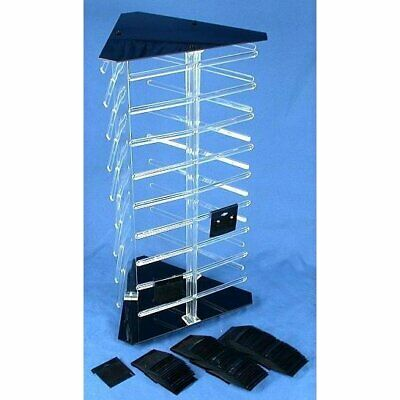 "3 Sided Rotating Revolving Jewelry Display Stand with 100 2"" Black Earring Cards"