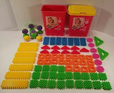 HUGE Playskool Clipo Blocks Figure Bucket 79 Pieces and 2 Buckets