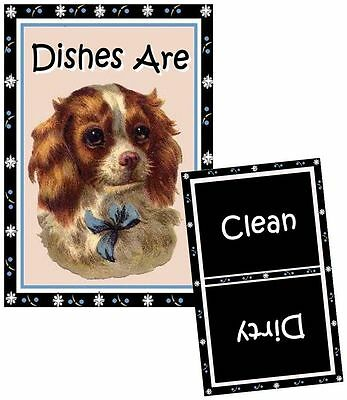 DOG DISHWASHER MAGNET Cavalier King Charles Spaniel #1 - Clean/Dirty *Ship FREE