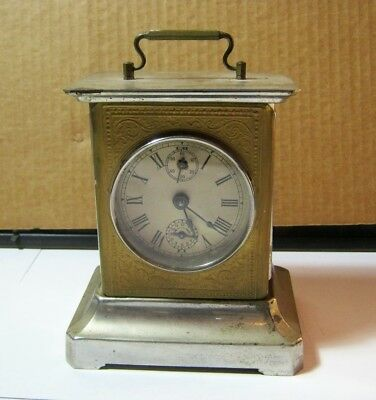 Old Musical Carriage Style Key Wind Working! Clock Antique    T*