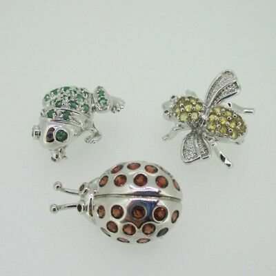 Sterling Silver Lot of Three Ladybug Frog Bee Pin Brooch