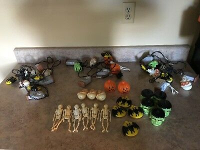 LOT Vtg HALLOWEEN BLOW MOLD STRING LIGHT Covers Tombstones, Bats, and More