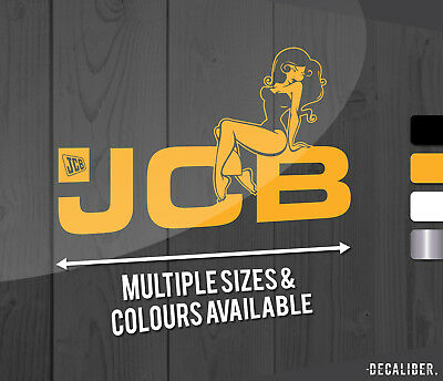 JCB Digger Sexy Pin Up Girl Funny Sticker / Decal - Excavator - Tractor - Digger