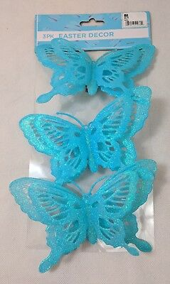 Glitter Aqua Butterfly Clip on Easter Decorations 3-pk