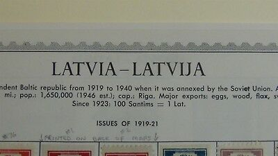 Latvia stamp collection on Minkus album pages to '92 w/ 101 stamps or so