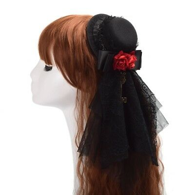 Vintage Women Red Floral Black Lace Mini Hat Hair Clip Gothic Headwear Steampunk