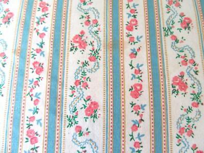 Vintage Feather Bed Pillow HARRIS BluPRINT Blue Stripe Pink Roses Ticking 25x18