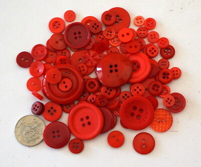 Red Buttons - 50 Mixed Pack - New - Scrapbooking Sewing Craft Patchwork