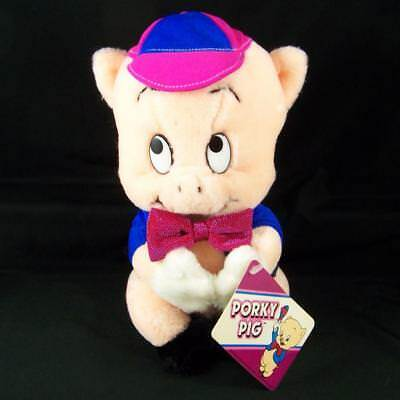 "Vintage Porky the Pig Plush Doll 1987 w/Tags Warner Bros 9.25"" Mighty Star MINTY"