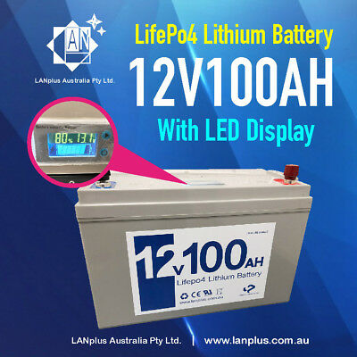 12V 100Ah Lithium LiFePO4 Rechargeable Battery Solar 4WD Caravan LCD Display