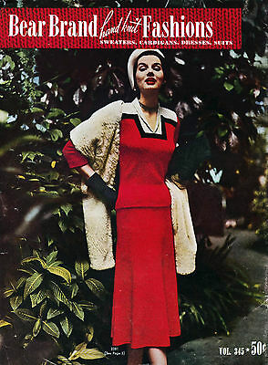 Bear Brand #345 c.1952 - Knitting Patterns for Women's Sweaters, Dresses & Suits