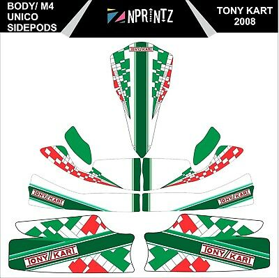M4 Tonykart 2008 With Unico Side Pods Full Sticker Kit - Karting - Otk - Evk M4